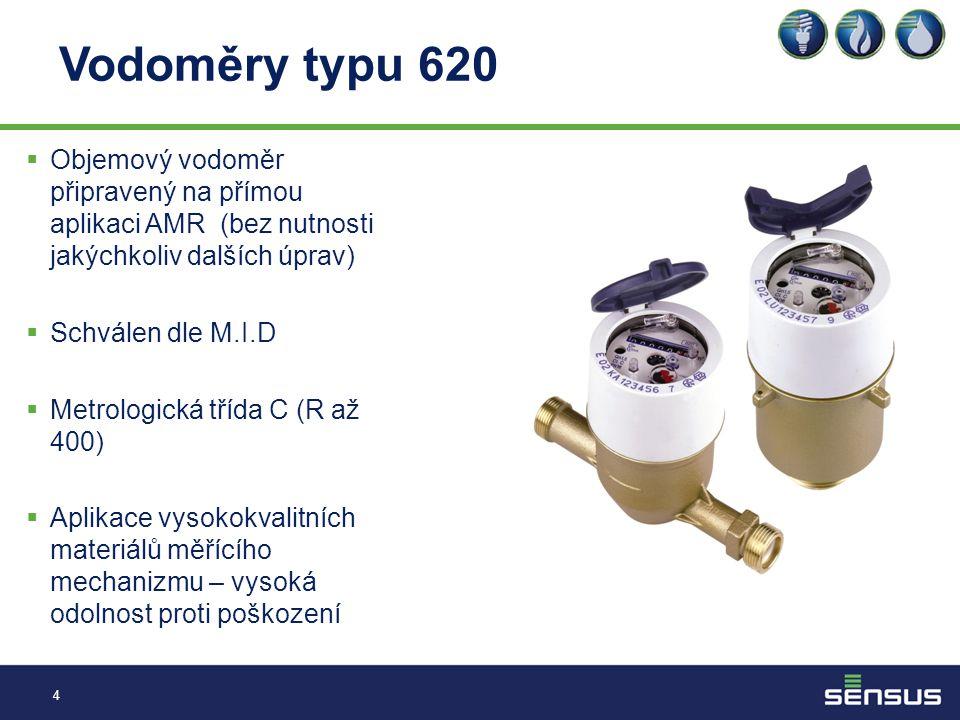 Vodoměry typu 620 Objemový vodoměr připravený na přímou aplikaci AMR (bez nutnosti jakýchkoliv dalších úprav)