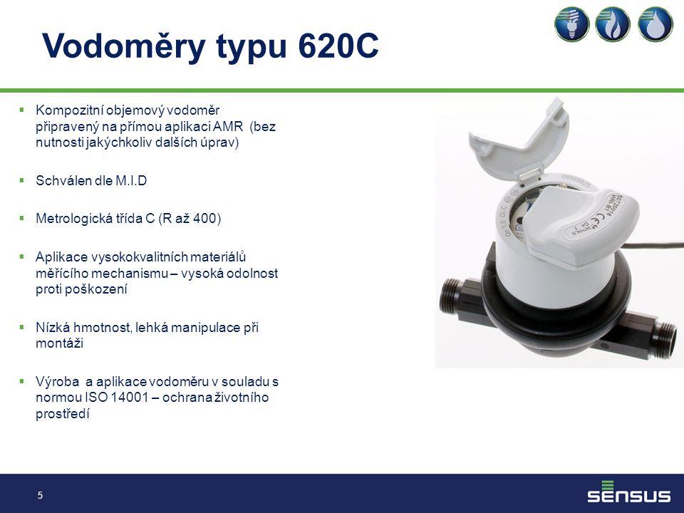 Vodoměry typu 620C Kompozitní objemový vodoměr připravený na přímou aplikaci AMR (bez nutnosti jakýchkoliv dalších úprav)