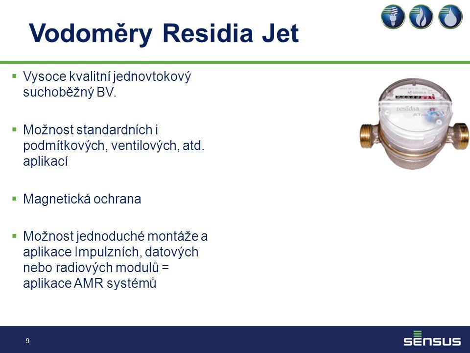 Vodoměry Residia Jet Vysoce kvalitní jednovtokový suchoběžný BV.