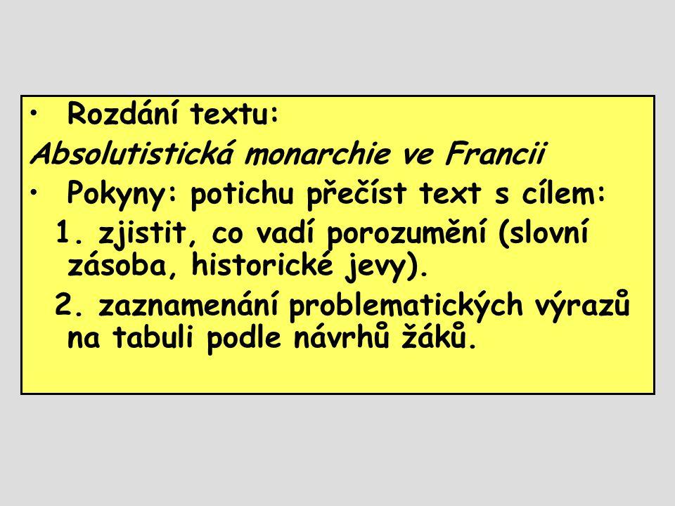 Rozdání textu: Absolutistická monarchie ve Francii. Pokyny: potichu přečíst text s cílem: