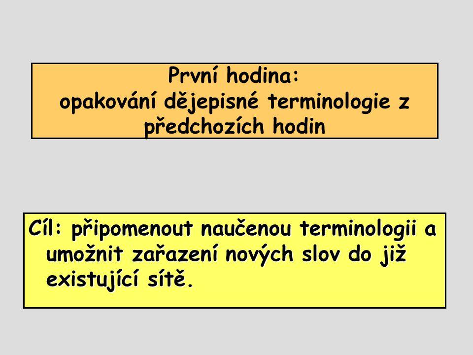První hodina: opakování dějepisné terminologie z předchozích hodin