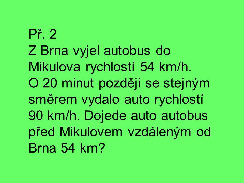 Př. 2 Z Brna vyjel autobus do Mikulova rychlostí 54 km/h