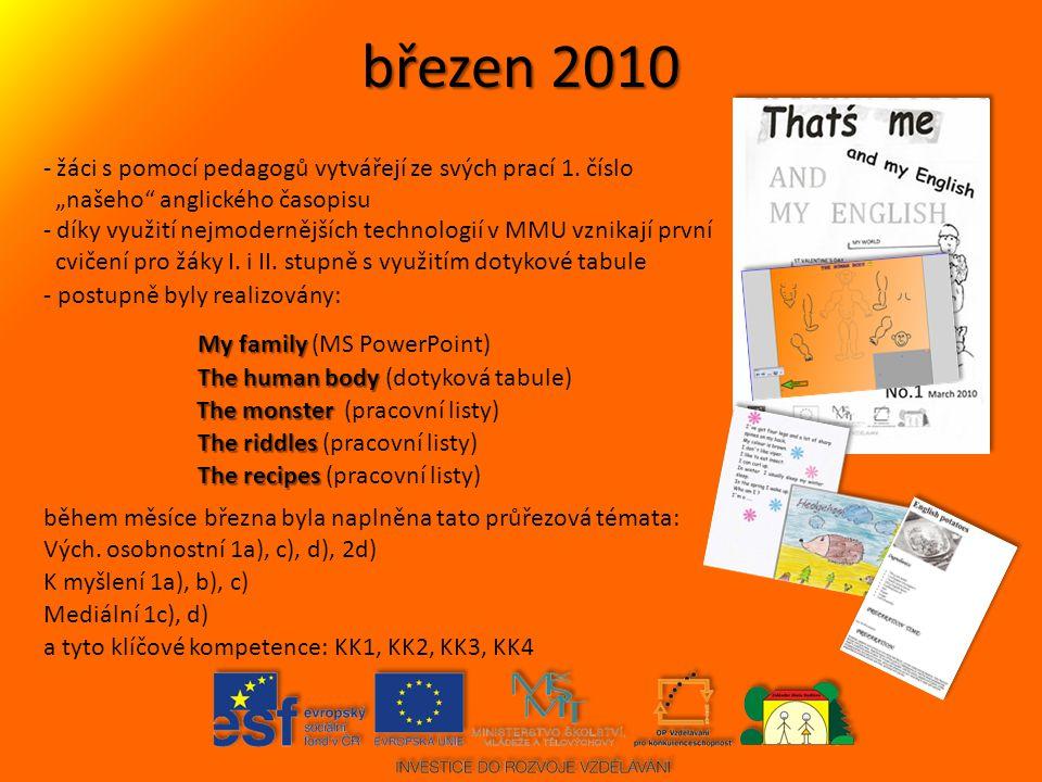 březen 2010 žáci s pomocí pedagogů vytvářejí ze svých prací 1. číslo