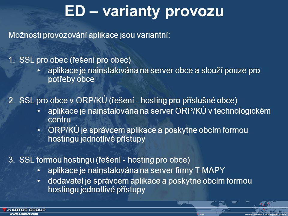 ED – varianty provozu Možnosti provozování aplikace jsou variantní: