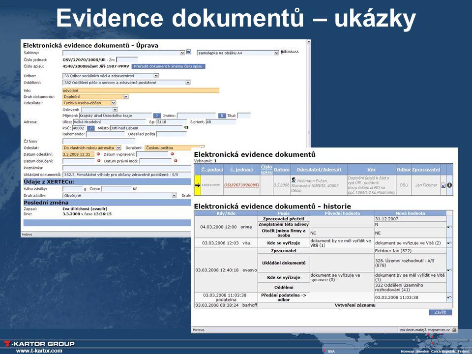 Evidence dokumentů – ukázky