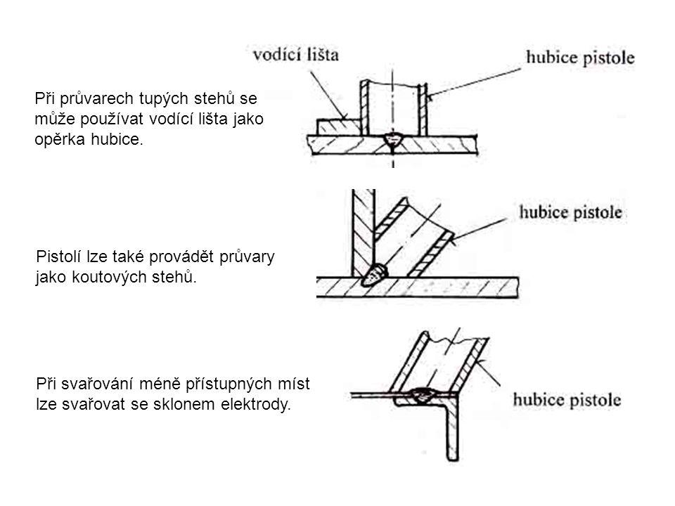 Při průvarech tupých stehů se může používat vodící lišta jako opěrka hubice.