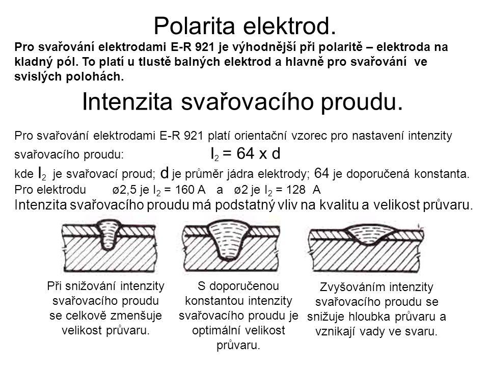 Intenzita svařovacího proudu.