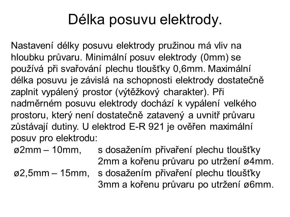 Délka posuvu elektrody.
