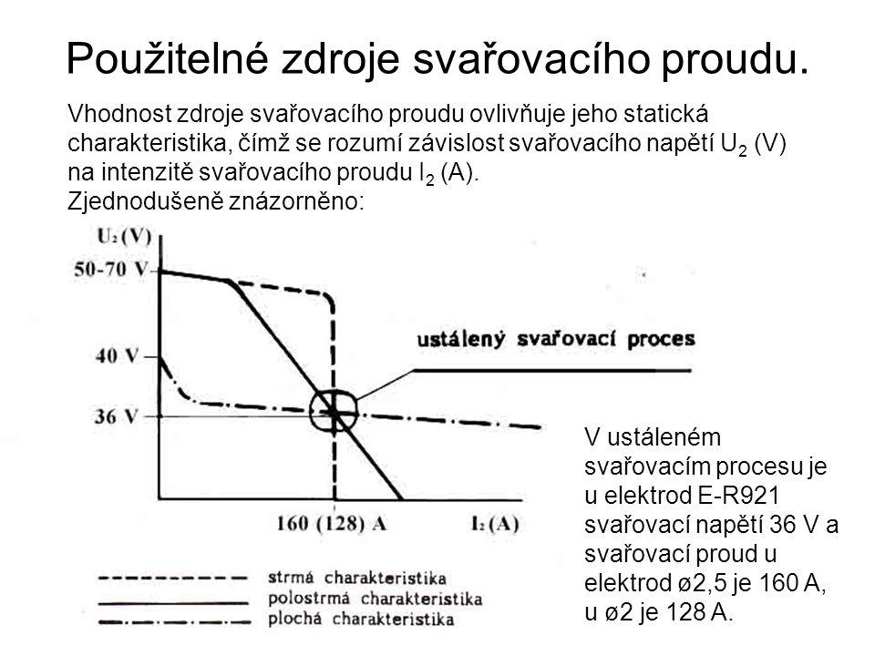 Použitelné zdroje svařovacího proudu.