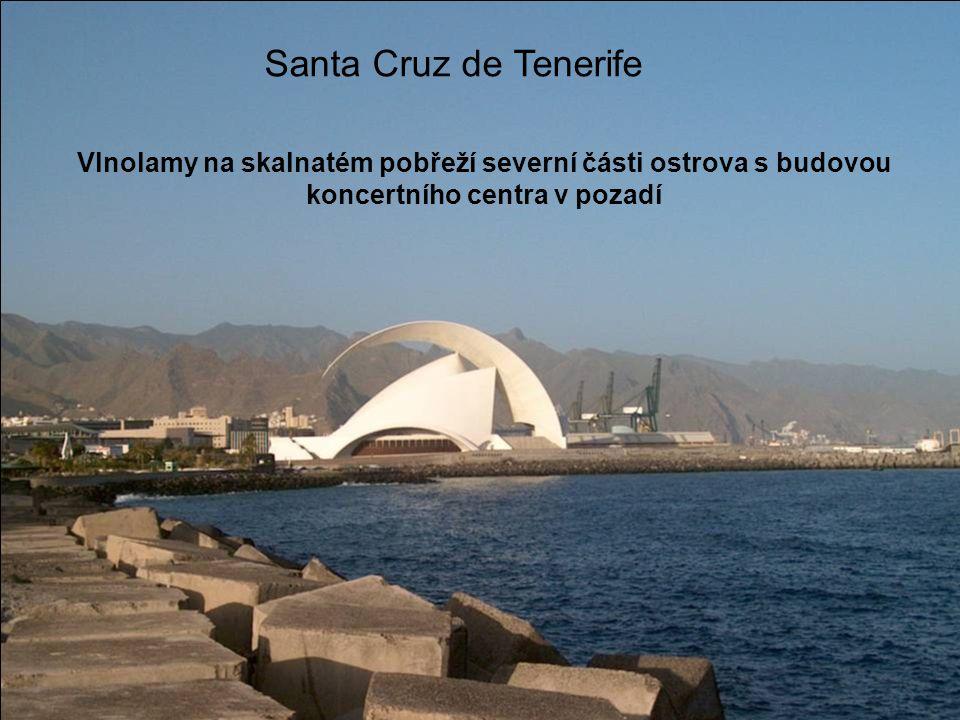 Santa Cruz de Tenerife Vlnolamy na skalnatém pobřeží severní části ostrova s budovou koncertního centra v pozadí.