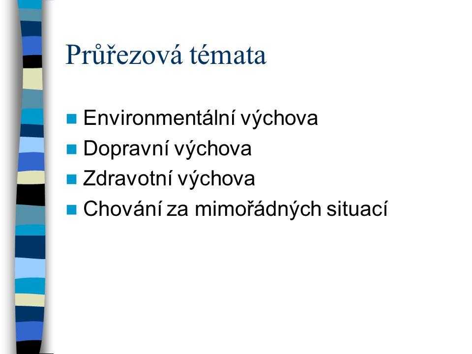 Průřezová témata Environmentální výchova Dopravní výchova