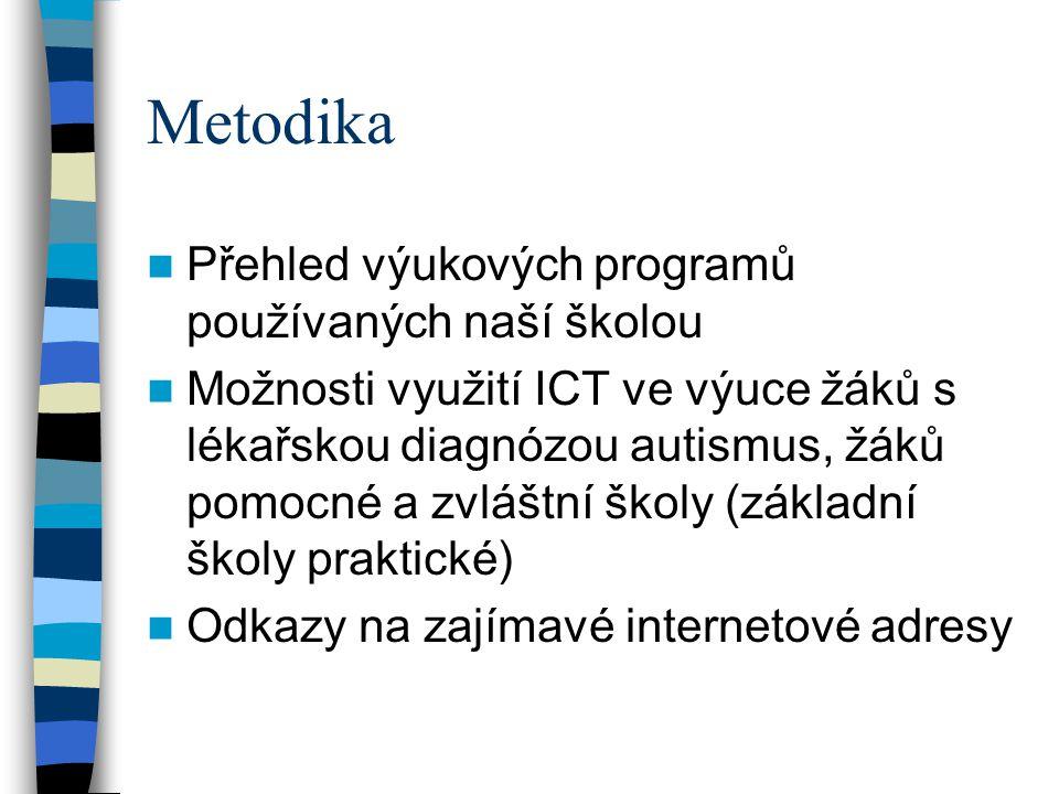 Metodika Přehled výukových programů používaných naší školou