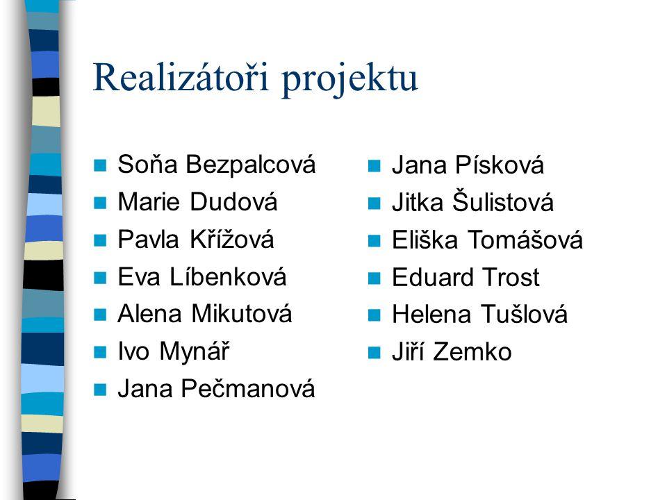 Realizátoři projektu Soňa Bezpalcová Jana Písková Marie Dudová