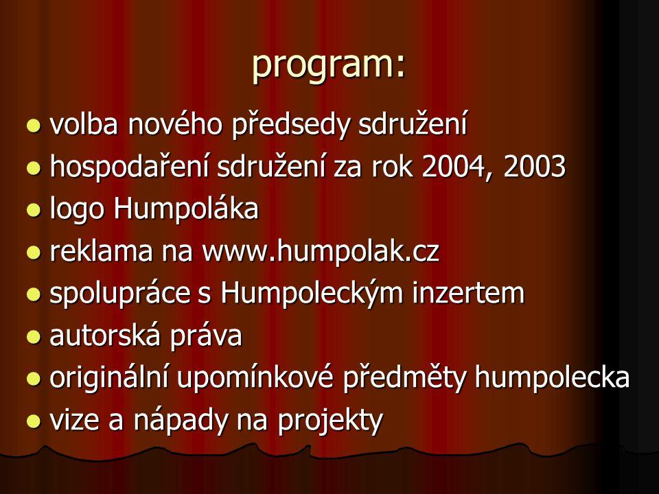 program: volba nového předsedy sdružení