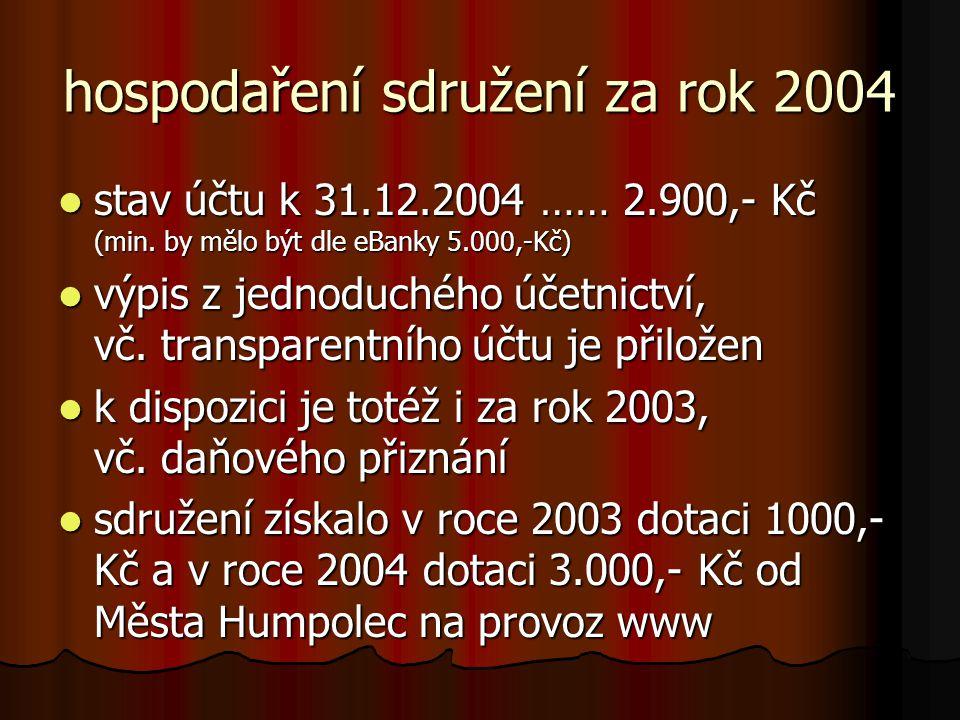hospodaření sdružení za rok 2004