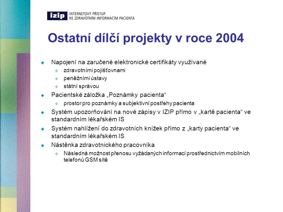 Ostatní dílčí projekty v roce 2004