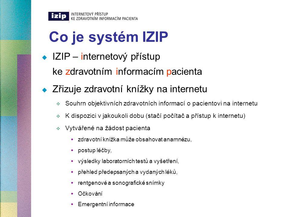 Co je systém IZIP IZIP – internetový přístup ke zdravotním informacím pacienta. Zřizuje zdravotní knížky na internetu.