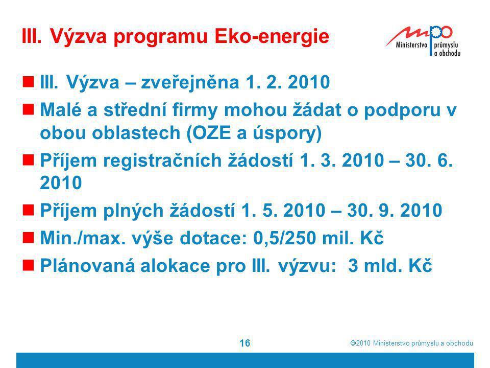 III. Výzva programu Eko-energie