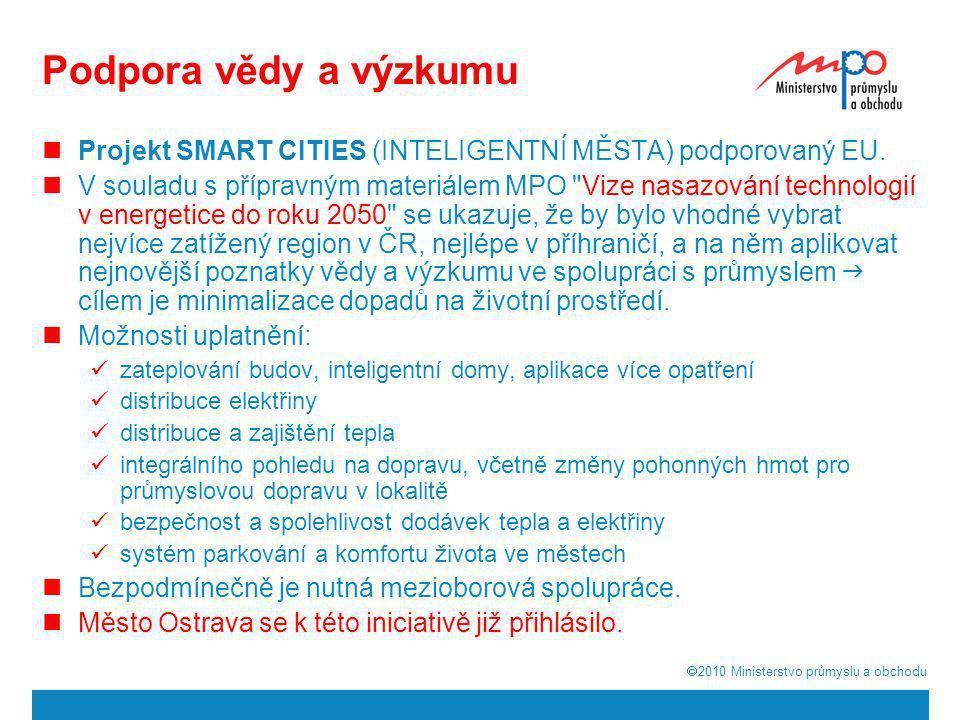 Podpora vědy a výzkumu Projekt SMART CITIES (INTELIGENTNÍ MĚSTA) podporovaný EU.