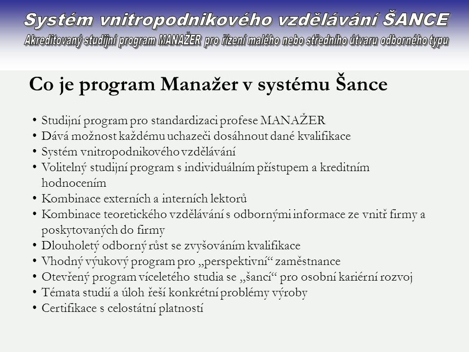 Systém vnitropodnikového vzdělávání ŠANCE