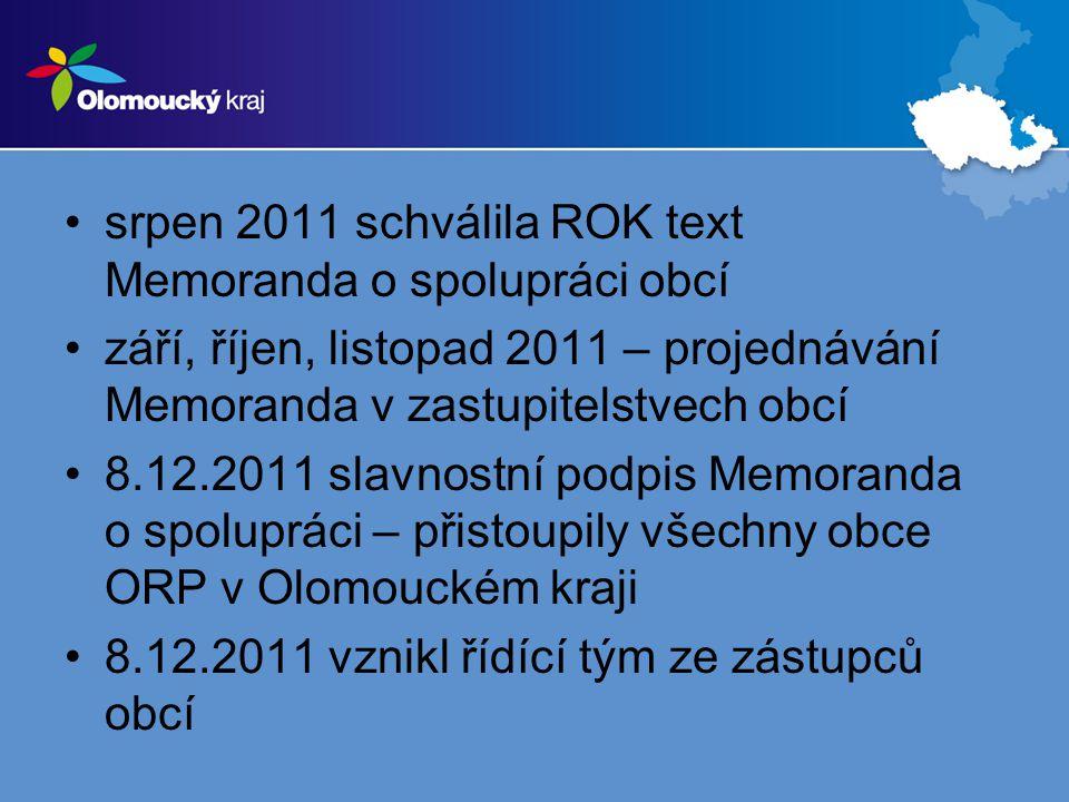 srpen 2011 schválila ROK text Memoranda o spolupráci obcí