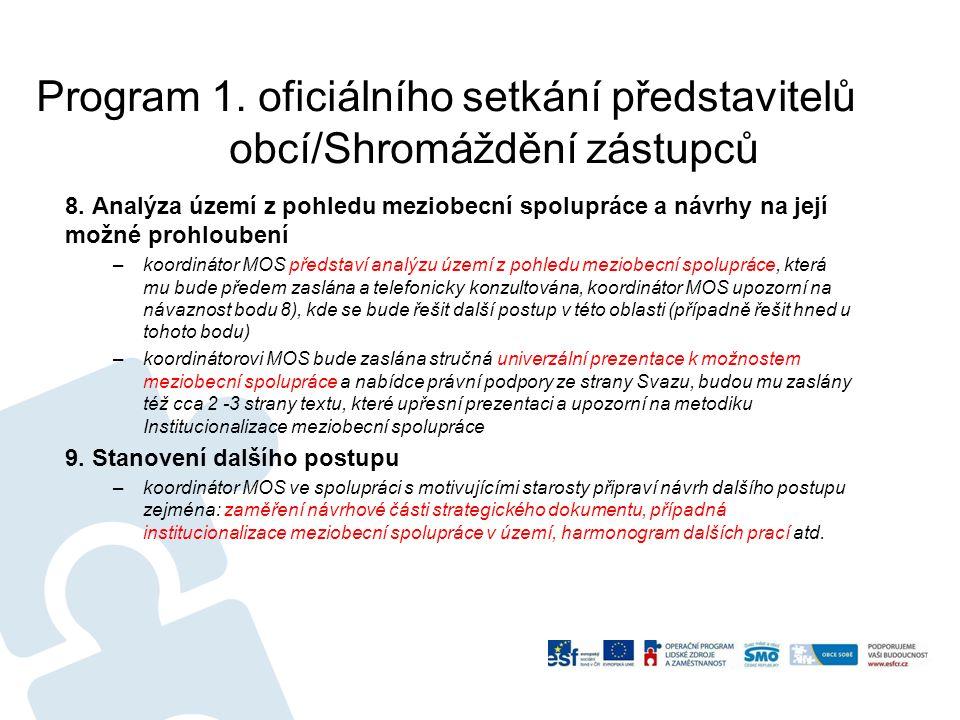 Program 1. oficiálního setkání představitelů obcí/Shromáždění zástupců