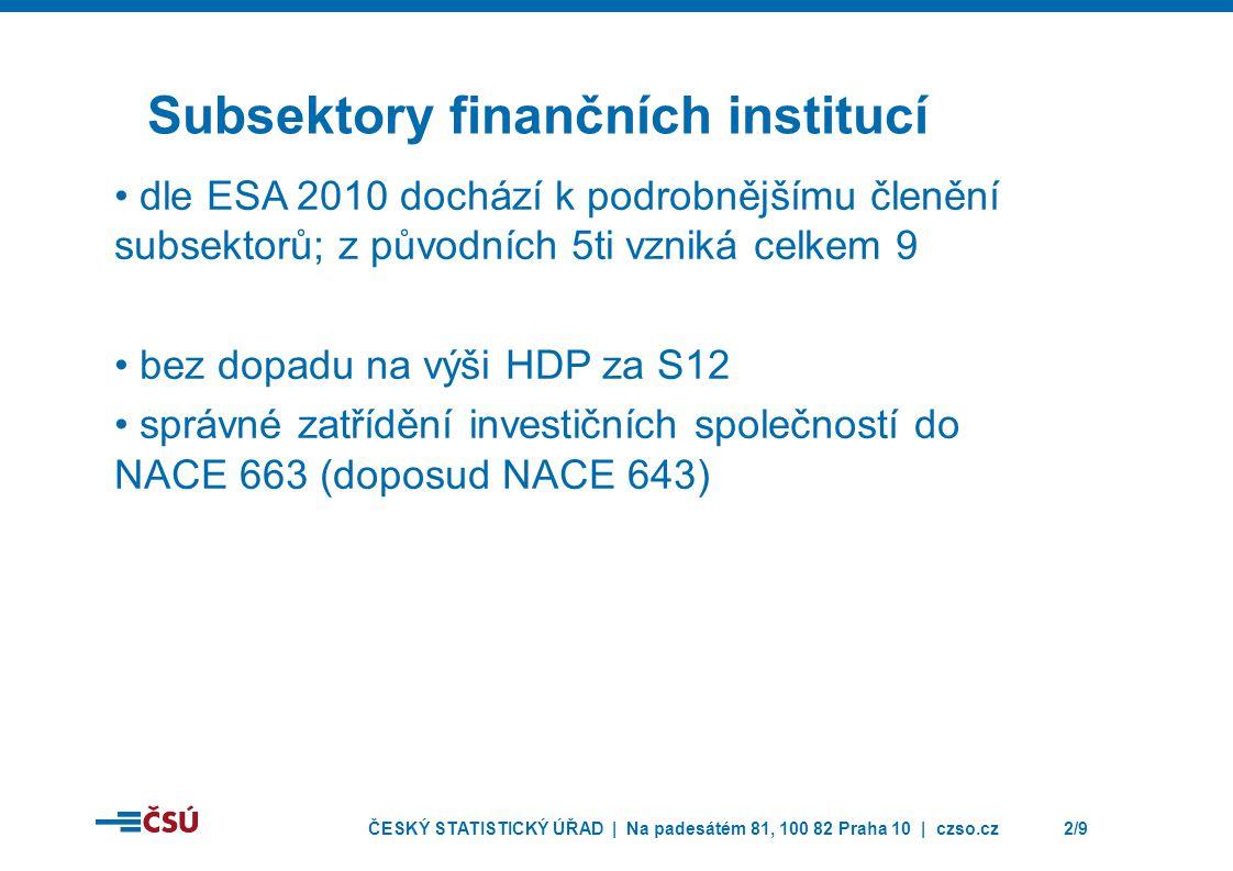 Subsektory finančních institucí