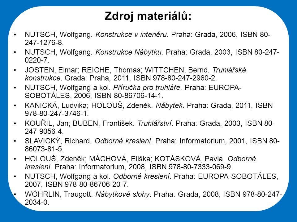 Zdroj materiálů: NUTSCH, Wolfgang. Konstrukce v interiéru. Praha: Grada, 2006, ISBN 80-247-1276-8.
