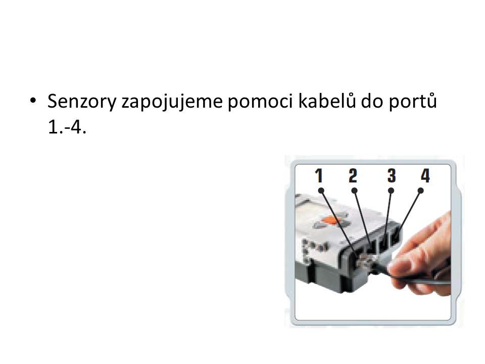 Senzory zapojujeme pomoci kabelů do portů 1.-4.
