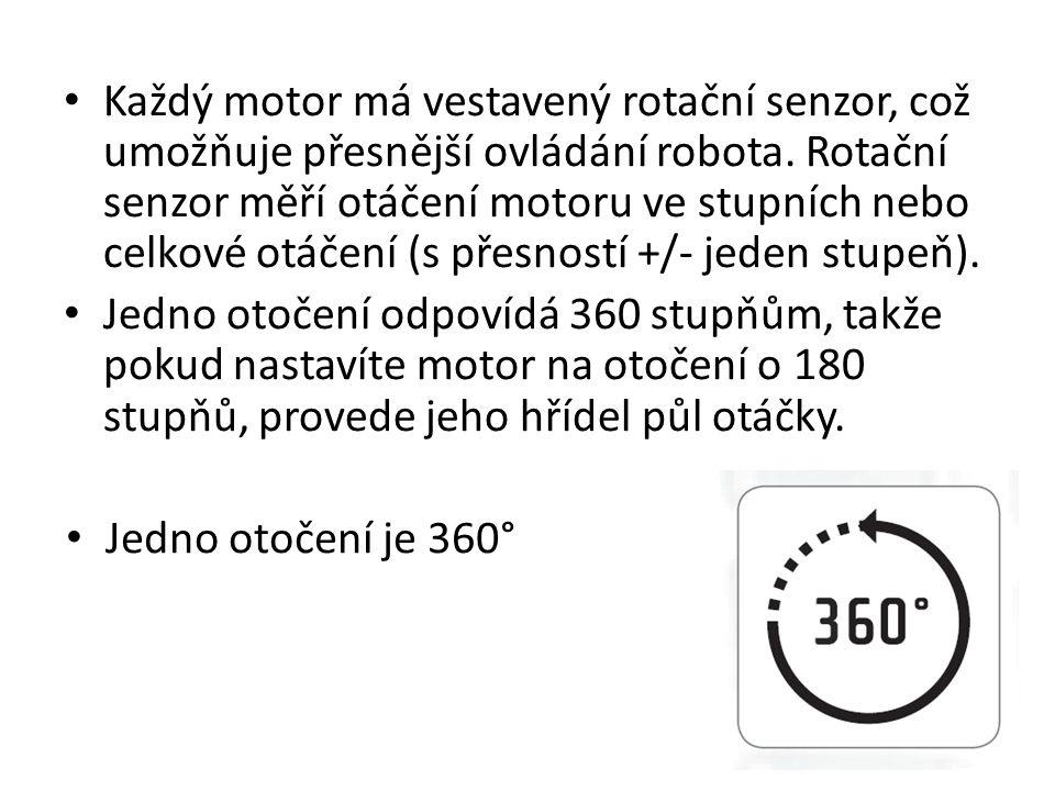 Každý motor má vestavený rotační senzor, což umožňuje přesnější ovládání robota. Rotační senzor měří otáčení motoru ve stupních nebo celkové otáčení (s přesností +/- jeden stupeň).