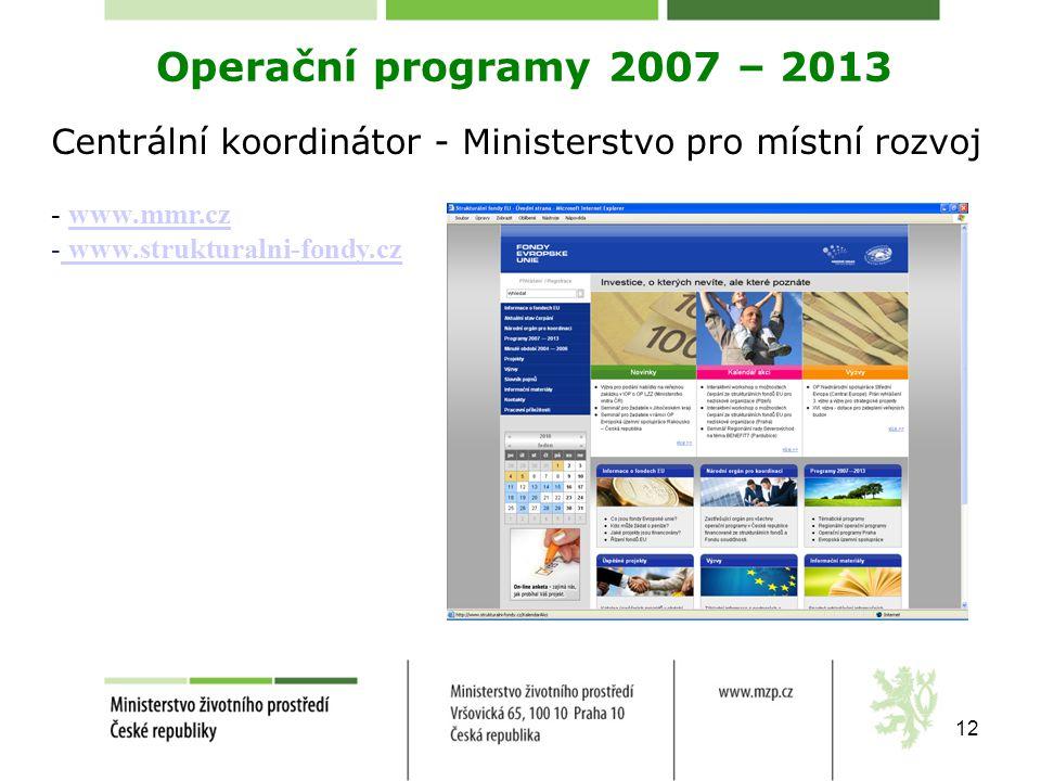 Operační programy 2007 – 2013 Centrální koordinátor - Ministerstvo pro místní rozvoj. www.mmr.cz. www.strukturalni-fondy.cz.