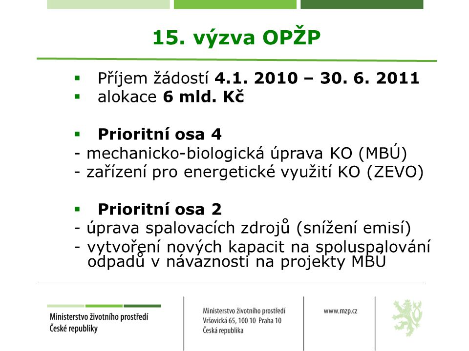 15. výzva OPŽP Příjem žádostí 4.1. 2010 – 30. 6. 2011