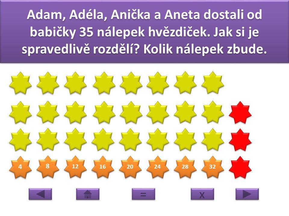 Adam, Adéla, Anička a Aneta dostali od babičky 35 nálepek hvězdiček
