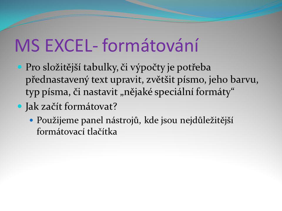 MS EXCEL- formátování