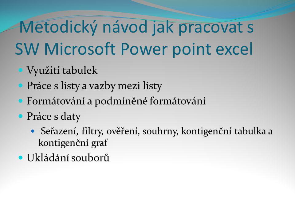 Metodický návod jak pracovat s SW Microsoft Power point excel