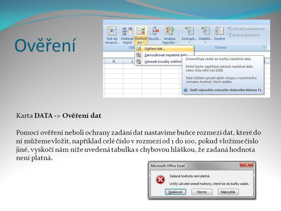 Ověření Karta DATA -> Ověření dat
