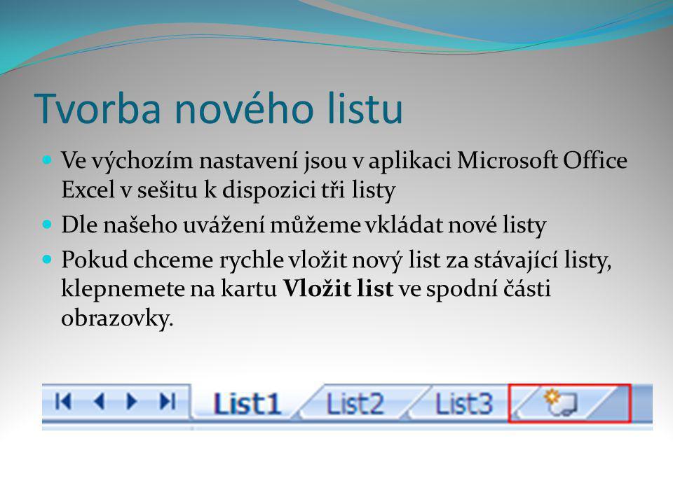 Tvorba nového listu Ve výchozím nastavení jsou v aplikaci Microsoft Office Excel v sešitu k dispozici tři listy.