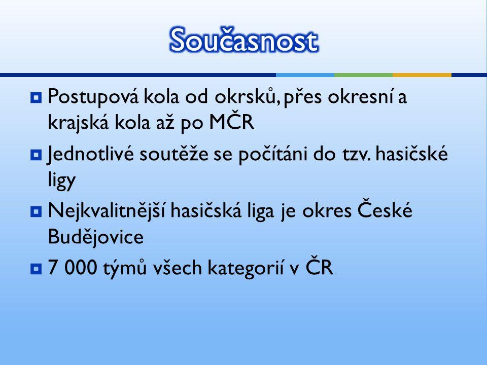 Současnost Postupová kola od okrsků, přes okresní a krajská kola až po MČR. Jednotlivé soutěže se počítáni do tzv. hasičské ligy.