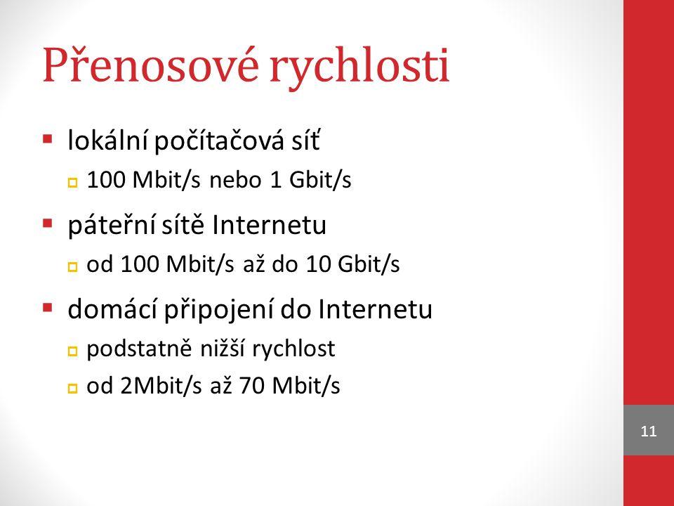 Přenosové rychlosti lokální počítačová síť páteřní sítě Internetu