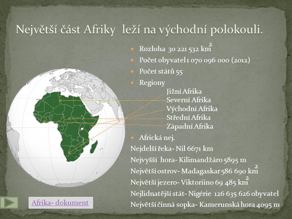 Největší část Afriky leží na východní polokouli.