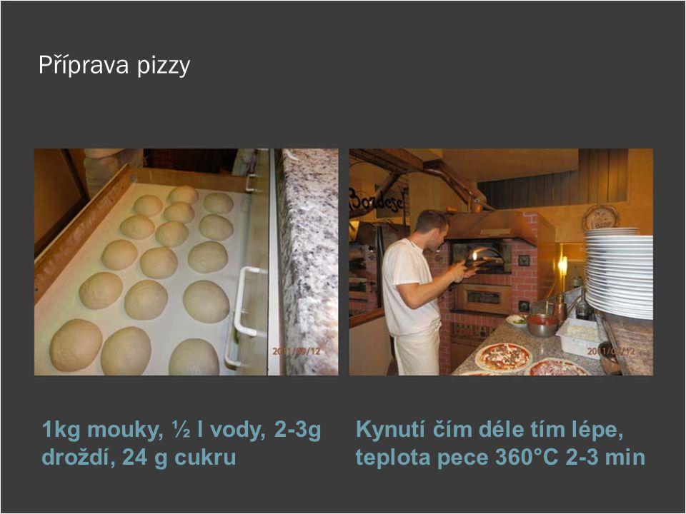 Příprava pizzy 1kg mouky, ½ l vody, 2-3g droždí, 24 g cukru