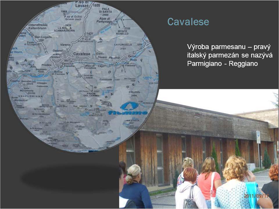 Cavalese Výroba parmesanu – pravý italský parmezán se nazývá Parmigiano - Reggiano