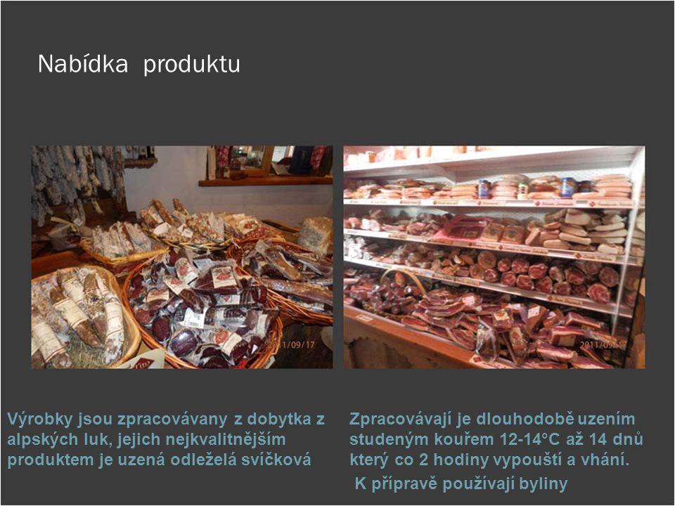 Nabídka produktu Výrobky jsou zpracovávany z dobytka z alpských luk, jejich nejkvalitnějším produktem je uzená odleželá svíčková.