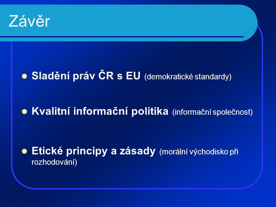Závěr Sladění práv ČR s EU (demokratické standardy)