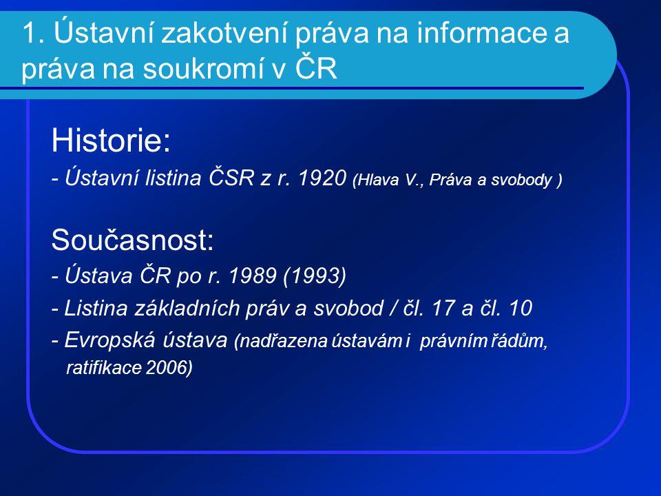 1. Ústavní zakotvení práva na informace a práva na soukromí v ČR