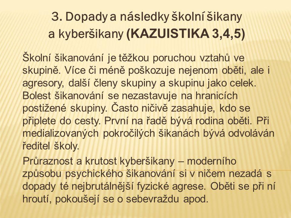 3. Dopady a následky školní šikany a kyberšikany (KAZUISTIKA 3,4,5)