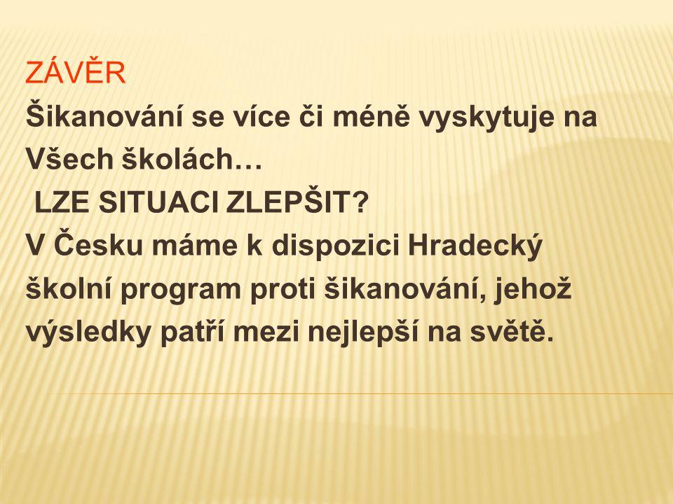 ZÁVĚR Šikanování se více či méně vyskytuje na. Všech školách… LZE SITUACI ZLEPŠIT V Česku máme k dispozici Hradecký.
