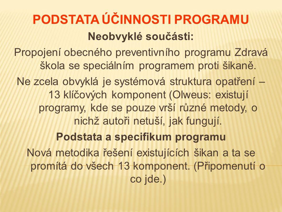 PODSTATA ÚČINNOSTI PROGRAMU Podstata a specifikum programu