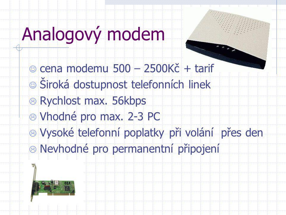 Analogový modem cena modemu 500 – 2500Kč + tarif