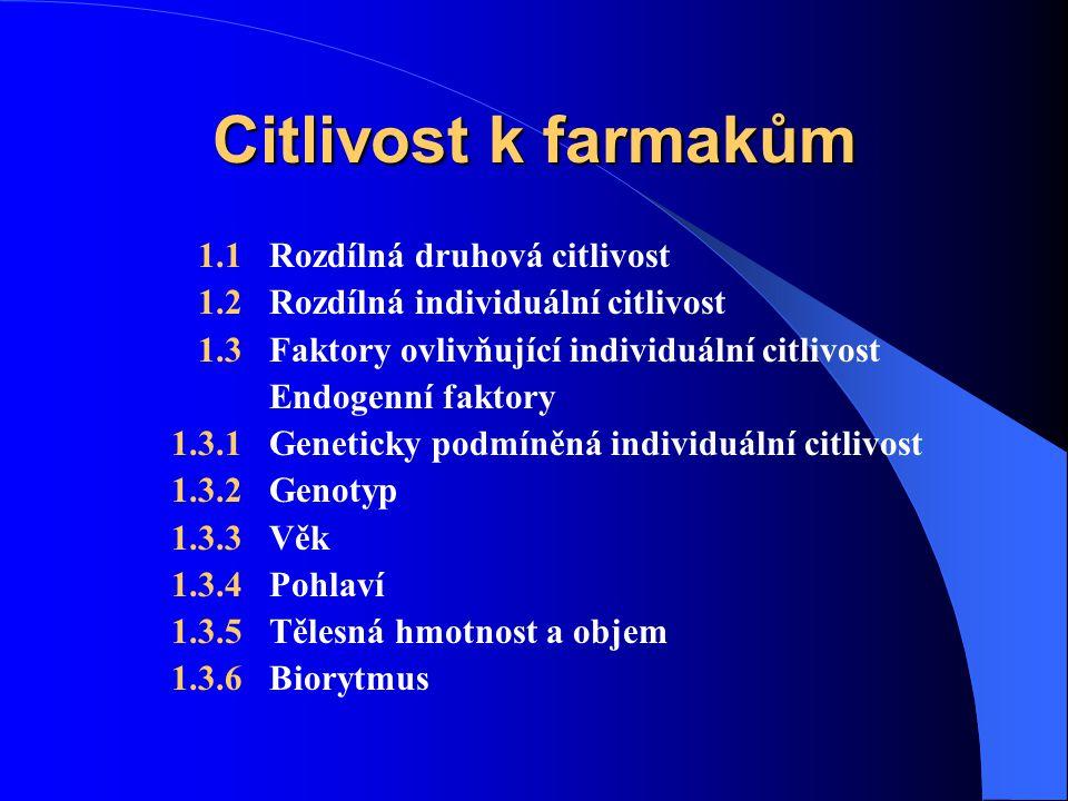 Citlivost k farmakům 1.1 Rozdílná druhová citlivost